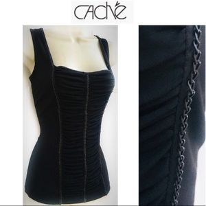 CACHE Black Pin Up Chain Corset Bustier Top S